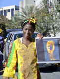 ORLANDO FL- January 18, 2014 - The Martin Luther King Parade in Orlando Florida. ORLANDO FL- January 18, 2014 - African American woman in traditional costume Royalty Free Stock Photo