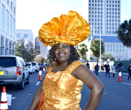 ORLANDO FL- January 18, 2014 - The Martin Luther King Parade in Orlando Florida. ORLANDO FL- January 18, 2014 - African American woman in traditional costume Royalty Free Stock Image