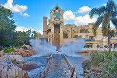 Orlando, Florida. Amazing Splash on Journey to Atlantis water attraction in International Drive area. stock image