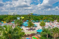 Panoramic view of Aquatica water park and Hilton Hotel in International Drive area. Orlando, Florida. April 07, 2019.  Panoramic view of Aquatica water park and royalty free stock photos