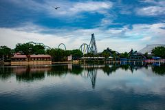 Panoramic view of Kraken and Mako rollercoasters , seagull flying on beautiful scenery at Seaworld in International Drive area . stock photo