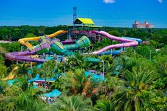 Taumata Racer at Aquatica and partial view of JW Marriott in International Drive area. stock image
