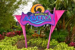Welcome to Aquatica colorful sign in International Drive area. stock photography