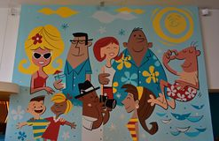 Colorful mural in hotel dinner area at Universal Studios. stock photo