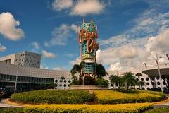 Colorful Universal Theme hotel on blue sky backround. royalty free stock image