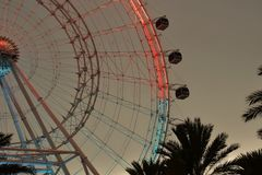 Colorful wheel, view from International Drive, Orlando, Florida royalty free stock photos