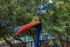 Top view of colorful bird character at Animal Kingdom 90