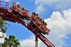 Universal Studios Roller coaster with excited riders royalty free stock image