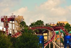 Universal Studios Rollercoaster on colorful background. royalty free stock images