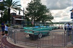 Water taxi ready to go, in Lake Buena Vista. stock images