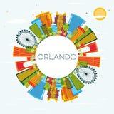 Orlando Florida City Skyline avec des bâtiments de couleur, ciel bleu et illustration stock