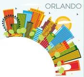 Orlando Florida City Skyline met Kleurengebouwen, Blauwe Hemel en vector illustratie