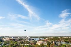 Orlando, Florida - DEC, 2017 - Beautiful blue sky day with flying balloon background skyline view stock image