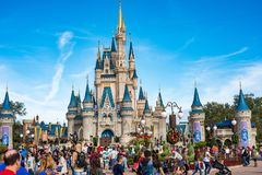 Cinderella Castle at The Magic Kingdom, Walt Disney World. Orlando, Florida: December 2, 2017: Cinderella Castle at The Magic Kingdom, Walt Disney World.  In Stock Photos