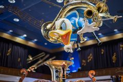 Donald Duck in a Disney store at the Magic Kingdom, Walt Disney World. Orlando, Florida: December 2, 2017: Donald Duck at a Disney store at The Magic Kingdom Stock Photography