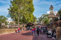 Liberty Square at the Magic Kingdom. Orlando, Florida: December 2, 2017: Liberty Square at The Magic Kingdom, Walt Disney World. In 2016, the park received 20 stock images