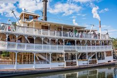 Liberty Square Riverboat, the Liberty Belle at the Magic Kingdom. Orlando, Florida: December 2, 2017: Liberty Square Riverboat, the Liberty Belle, at The Magic royalty free stock images