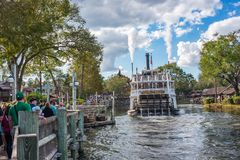 Liberty Square Riverboat, the Liberty Belle at the Magic Kingdom. Orlando, Florida: December 2, 2017: Liberty Square Riverboat, the Liberty Belle, at The Magic stock images