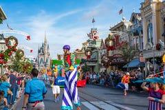 Parade in Main Street USA at The Magic Kingdom, Walt Disney World. Orlando, Florida: December 2, 2017: Parade in Main Street USA at The Magic Kingdom, Walt Royalty Free Stock Images