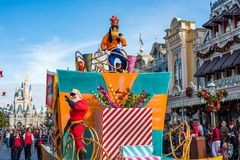 Parade in Main Street USA at The Magic Kingdom, Walt Disney World. Orlando, Florida: December 2, 2017: Parade in Main Street USA at The Magic Kingdom, Walt stock photo