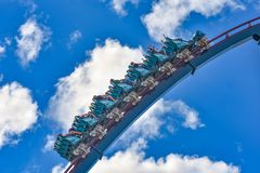 People enjoy thrills for ride of the Mako roller coaster in amusement park at Seaworld in International Drive area 2. Orlando, Florida. December 26, 2018. People royalty free stock image