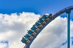 People enjoy thrills for ride of the Mako roller coaster in amusement park at Seaworld in International Drive area 14. Orlando, Florida. December 26, 2018 royalty free stock photos
