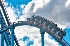 People enjoy thrills for ride of the Mako roller coaster in amusement park at Seaworld in International Drive area 20. Orlando, Florida. December 26, 2018 royalty free stock images