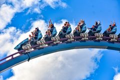 People enjoy thrills for ride of the Mako roller coaster in amusement park at Seaworld in International Drive area 19. Orlando, Florida. December 26, 2018 royalty free stock photography