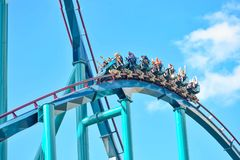 People enjoy thrills for ride of the Mako roller coaster in amusement park at Seaworld in International Drive area 23. Orlando, Florida. December 26, 2018 royalty free stock images