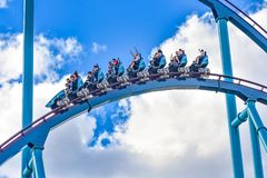 People enjoy thrills for ride of the Mako roller coaster in amusement park at Seaworld in International Drive area 18. Orlando, Florida. December 26, 2018 royalty free stock photography