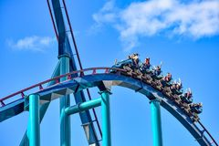 This roller coaster is known for high speeds, deep dives and thrills around every turn at Seaworld in International Drive area 12. Orlando, Florida. December 26 royalty free stock images