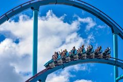 This roller coaster is known for high speeds, deep dives and thrills around every turn at Seaworld in International Drive area 3. Orlando, Florida. December 26 stock photos