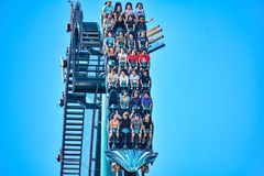 This roller coaster is known for high speeds, deep dives and thrills around every turn at Seaworld in International Drive area 1. Orlando, Florida. December 26 royalty free stock photo