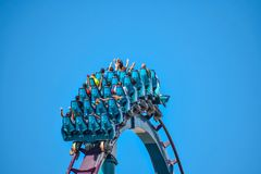This roller coaster is known for high speeds, deep dives and thrills around every turn at Seaworld in International Drive area 6. Orlando, Florida. December 26 stock photo