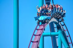 This roller coaster is known for high speeds, deep dives and thrills around every turn at Seaworld in International Drive area 11. Orlando, Florida. December 26 stock photo