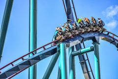This roller coaster is known for high speeds, deep dives and thrills around every turn at Seaworld in International Drive area 7. Orlando, Florida. December 26 royalty free stock photography
