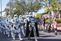 Star Wars Storm Troopers at Disney`s Hollywood Studios. Orlando, Florida: December 3, 2017: Star Wars` `Storm Troopers` march at Disney`s Hollywood Studios. ` Royalty Free Stock Images