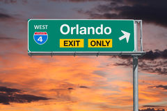 Orlando Florida Exit Only Freeway Sign with Sunrise Sky Royalty Free Stock Images