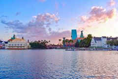 Panoramic view of Dance Hall and colorful hotel and villages on sunset background at Lake Buena Vista area. stock photos