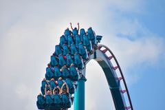 Ride Mako, a hyper coaster known for high speeds, deep dives, and thrills around every turn. at Seaworld 7. Orlando, Florida . February 17 , 2019 Ride Mako, a stock photo