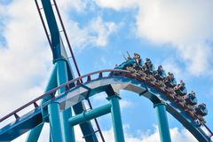 Ride Mako, a hyper coaster known for high speeds, deep dives, and thrills around every turn. at Seaworld 10. Orlando, Florida . February 17 , 2019 Ride Mako, a stock image