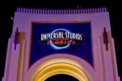 Top view of Universal Studios arch at night in Universal Studios area 1. Orlando, Florida. February 05, 2019. Top view of Universal Studios arch at night in royalty free stock photo