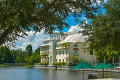 Beautiful partial view of Bohemian Celebration Hotel at Celebration Town in Kissimmee area.