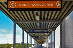 North Concourse sign in Orlando Convention Center at International Drive area. Orlando, Florida. January 12, 2019. North Concourse sign in Orlando Convention royalty free stock image