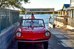 Red amphibious car launch at Lake Buena Vista area . Orlando, Florida. January 11, 2019. Red amphibious car launch at Lake Buena Vista area stock photos