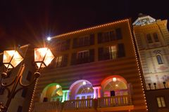 Streetlight and colorful balcony in Portofino Hotel at Universal Studios area. royalty free stock photography
