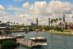 Colorful Morning City walk at Universal Studios. Travel Card stock photo