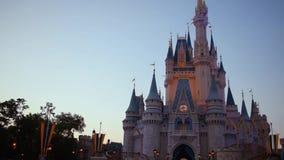 Motion of 180 degree camera in Cinderella Castle at Magic Kingdom. Orlando, Florida. June 03, 2019 . Motion of 180 degree camera in Cinderella Castle at Magic stock footage