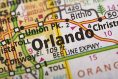 Orlando, Florida on map. Closeup of Orlando, Florida on a political map of the United States royalty free stock images