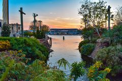 Beautiful view of Waterfront and bayside stadium on colorful sunset background at Seaworld in International Drive area 1 stock photography